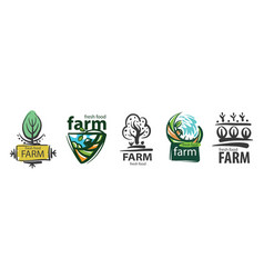 set logos for agriculture and farms vector image