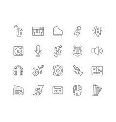 set of music outline icons vector image