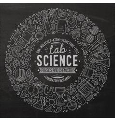 Set of science cartoon doodle objects symbols vector