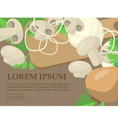 Set of sliced mushrooms onion and parsley on the vector image