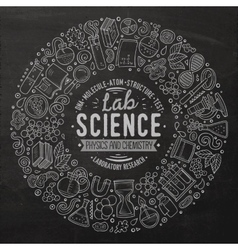 set science cartoon doodle objects symbols and vector image