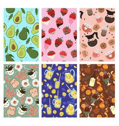 Set seamless patterns with cute kawaii food vector