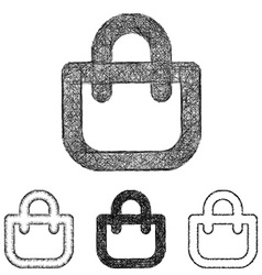 Shopping bag icon set - sketch line art vector
