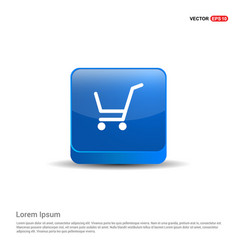 Shopping cart icon - 3d blue button vector