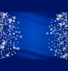 Snowflakes frame on horizontal blue background vector