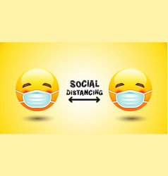 Social distancing face mask icon emotion vector