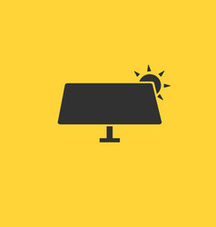 solar panel icon in flat style isolated on yellow vector image
