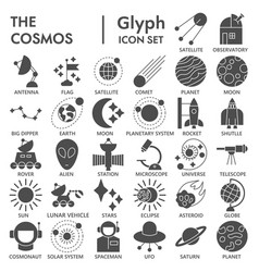 space glyph signed icon set astronomy symbols vector image