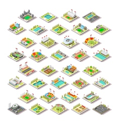 Sport Facility Buildings Set 3D Isometric City vector