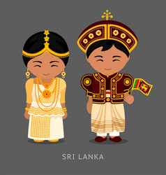sri lankans in national dress with a flag vector image