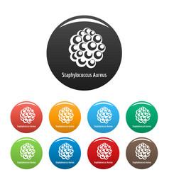 staphylococcus aureus icons set color vector image