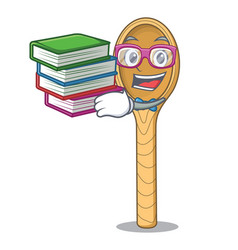 Student with book wooden spoon mascot cartoon vector