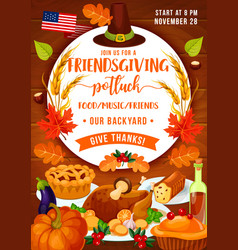 thanksgiving dinner and friendsgiving potluck vector image