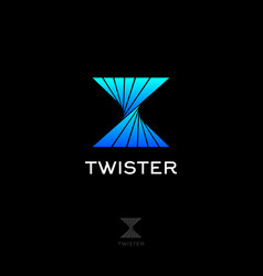 twister abstract logo blue tornado emblems icon vector image
