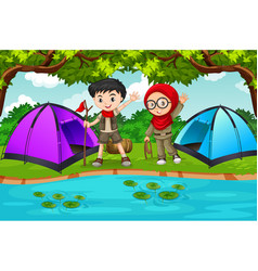 Two children camping scene vector