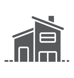 two storey house glyph icon real estate and home vector image