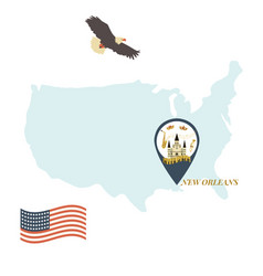 Usa map with new orleans pin travel concept vector