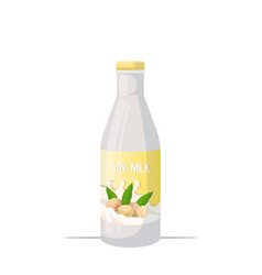vegan soy plant based milk glass bottle organic vector image