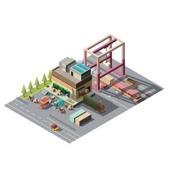 warehouse with cargo cars 3d isometric vector image