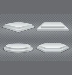 white podiums round and square 3d empty podium vector image