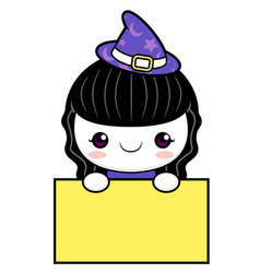 witch character is holding a board halloween day vector image