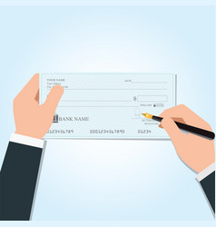 businessman writing a payment bank checks vector image vector image