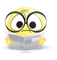 Emoticon confused reading a newspaper vector image
