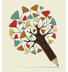Ginkgo leaf concept pencil tree vector image