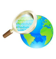 magnifying glass binary data world globe concept vector image