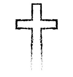 Abstract christian cross black in hand drawn style vector