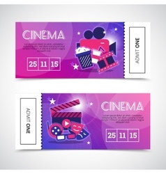 Cinema horizontal banners in ticket form vector