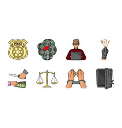 crime and punishment icons in set collection for vector image
