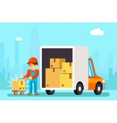 Delivery man unload delivery car boxes vector image vector image