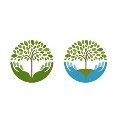 Ecology natural environment logo Tree vector image vector image