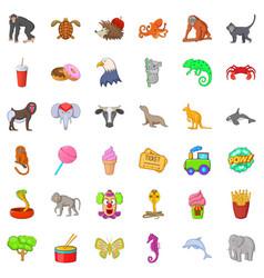 good zoo icons set cartoon style vector image vector image