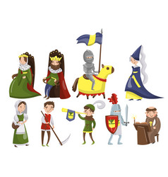medieval people set characters of middle ages vector image