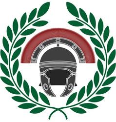 roman helmet and wreath stencil vector image