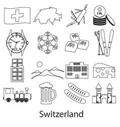 Switzerland country theme outline symbols icons vector