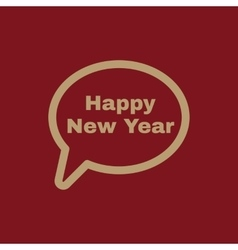 The speech bubble with the word happy new year vector image