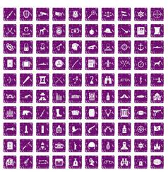 100 guns icons set grunge purple vector