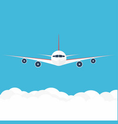 airplane in the sky commercial airplane in front vector image vector image