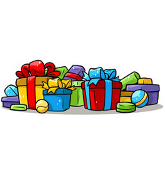 cartoon colored presents and gift boxes vector image