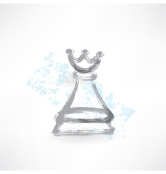 chess Queen grunge icon vector image vector image