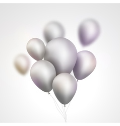 Silver Balloons bunch Set of festive silver gray vector image vector image