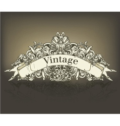 vintage floral with scroll vector image vector image