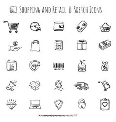 Hand drawn shopping and retail icon set vector image vector image