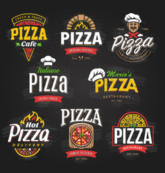 pizza emblems set vector image vector image