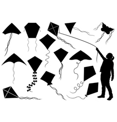 Set of different kites vector image vector image