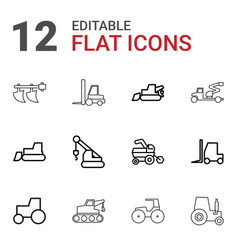 12 tractor icons vector