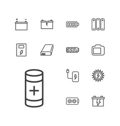 13 battery icons vector